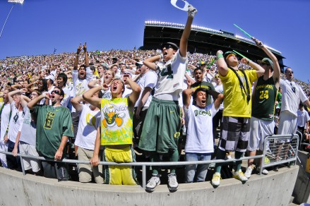 Dedicated fans cheering on their Ducks.
