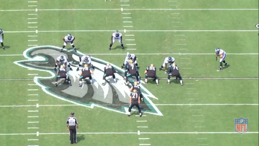Cox (#91) is the right defensive end in the Eagles' base 3-4, opposite left defensive end Cedric Thornton (#72).