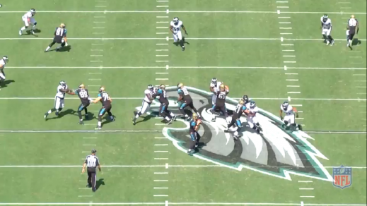 The center has no one to block, while inside linebacker Mychal Kendricks (#95) is unblocked on the blitz.