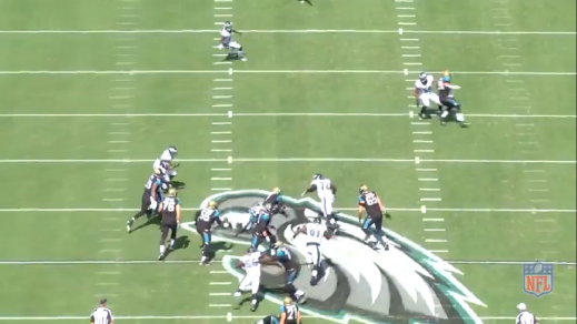 Kendricks sacks the quarterback from behind due to the stunt.
