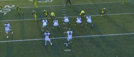 Oregon uses an even front with inside linebacker Derrick Malone, Jr. (#22) in the box.