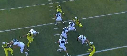 Armstead uses a bull-rush to collapse the pocket before the running back can assist on a block.