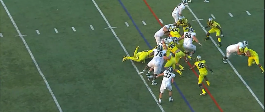 Oregon makes the gang tackle because the gaps are sealed off and the running back has nowhere to run.