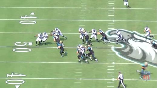 Cox sheds the block and leaves Gerhart with no room to run.