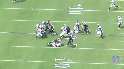 Cox finishes the play, but the outstanding effort is nullified by a penalty against him for a horse-collar tackle.