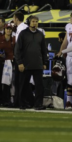 Mike Leach's seat is getting hot. Probably why he's walking around.