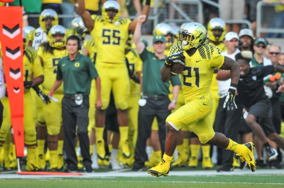 Royce Freeman with a second half touchdown against Michigan State.