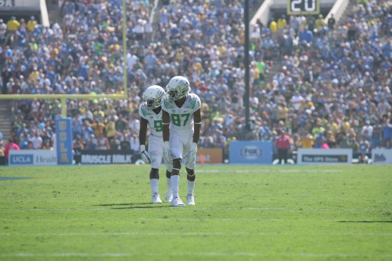 Byron Marshall and Darren carrington line up against the Bruins