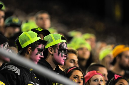Oregon fans watching anxiously from the student section.