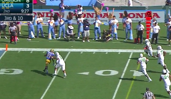 The Bruin has angle on Tyner...