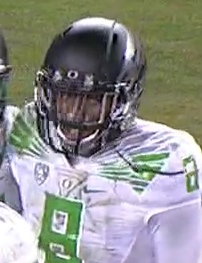 Charles Nelson savors the moment after his touchdown.