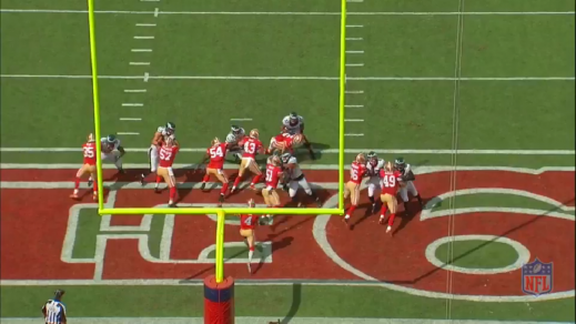 The 49ers long snapper fails to secure a block, allowing Braman and Burton to take on the right guard in a two-on-one battle.