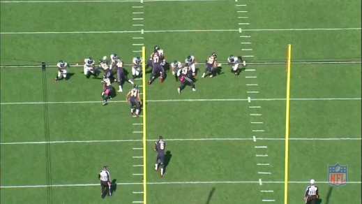 #97 helps the long snapper with Braman, while Casey comes free at the personal protector (#34). Maragos slants at #53, so he and Burton can double-team him.