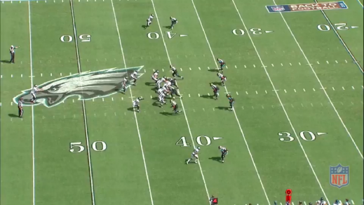 Boykin initially makes a quick step to the left.