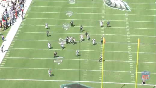 Punter Donnie Jones (#8) made a beautiful punt which fell to the 1, and Boykin holds his balance just long enough to catch the ball.