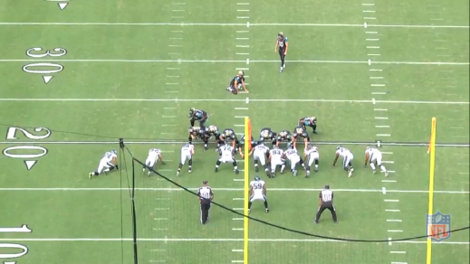 Keep an eye on Bair (#93, lined up between the left guard and left tackle).