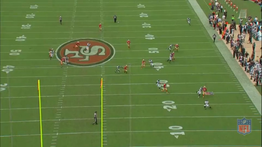 Sproles (#43) catches the punt deep in Eagles territory.