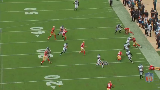 Smith (on the Eagles' 30-yard line, near the sideline) keeps Sproles untouched.