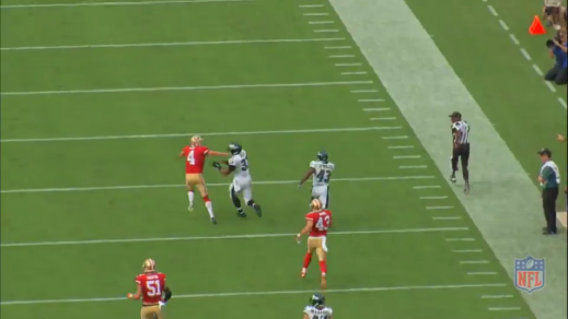 Only the 49ers punter remains in Sproles's path, but Polk hustles downfield to make the final block.