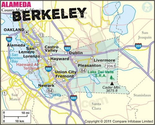 You can see where Berkeley should be located. Alameda County maps have expelled Berkeley due to Cal's inevitable beating Friday night.
