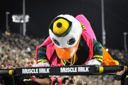 Puddles the Duck doing his trademark push ups following the score.