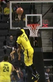 Dwayne Benjamin has a fading one handed put-back!
