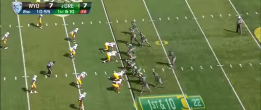 Helfrich adds a wrinkle to the Sweep Read by putting a slot receiver in motion for an exchange with the quarterback.