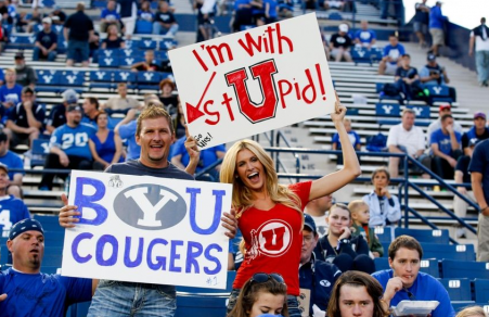 """The Holy War is good, clean fun in Utah (see """"I Heart Polygamy"""" t-shirts)"""