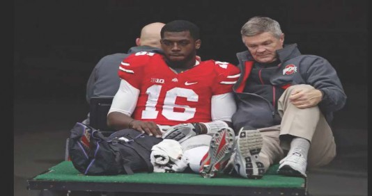 JT Barrett leaving Michigan game with broken ankle