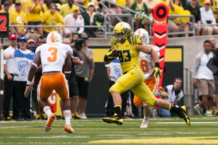 Johnny Mundt (83) makes his debut  vs. Tennessee in 2013.