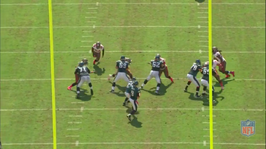 Kelce engages the defensive tackle at the start of the play, selling the downfield pass well.
