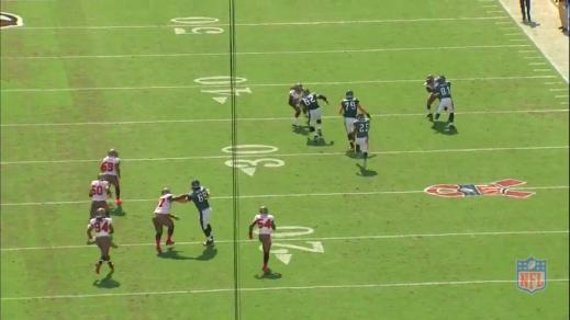 Kelce finds a defensive back in a huge size mismatch for a one-on-one battle.