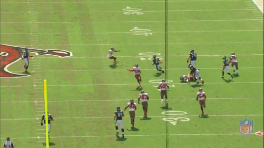 McCoy gets room to pick up a 44-yard gain because Kelce flattened his defender.