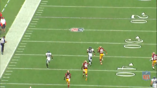 Kelce runs stride-for-stride with the Redskins defensive back more than 40 yards away from the line of scrimmage.