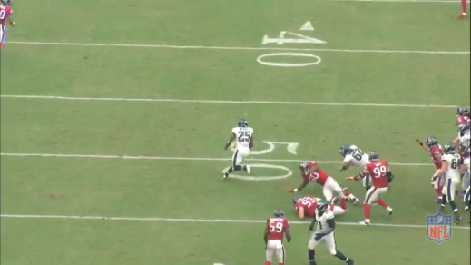 McCoy finds the cutback lane created by Tobin and Kelce to pick up 26 yards. Kelce shoves the linebacker to the ground to take him out of the play.