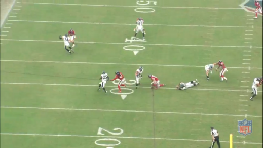 The linebacker is consequently tripped up, which allows McCoy to pick up a 14-yard gain.