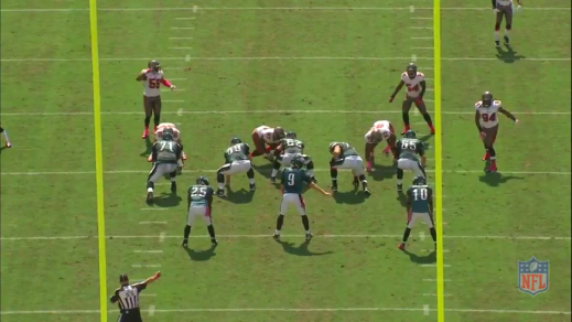 Receiver DeSean Jackson will motion to the left to distract the defense from the screen to McCoy on the right.