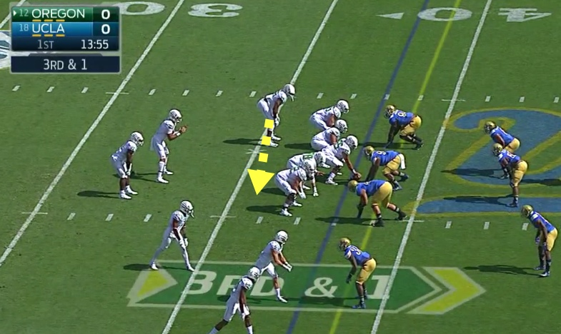 Oregon's Tight End, or F-Back will kick-out...