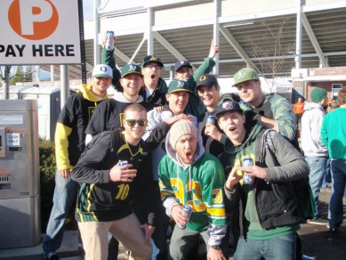 My friends and I outside of Reser Stadium in 2010  donning our A's hats