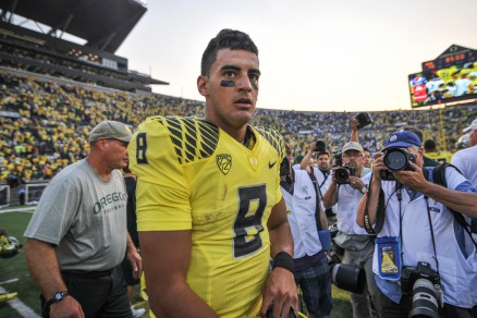 Mariota post-game against Michigan earlier this season.