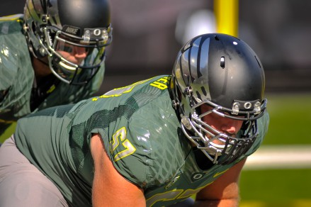 Doug Brenner lining up on the offensive line.