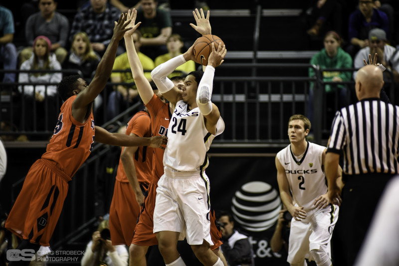 Dillon Brooks looking to get rid of the ball. Photo: Craig Strobeck