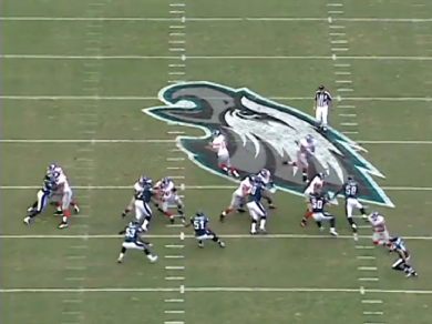 Matthews moves in the running back's direction, but takes a bad angle.