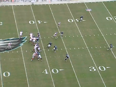 The receiver runs a slant route with the Eagles in man coverage. This clears out the left side of the field.