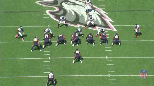 Matthews is lined up across from the right guard.