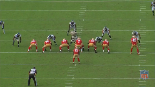 Matthews lines up across from the right tackle.