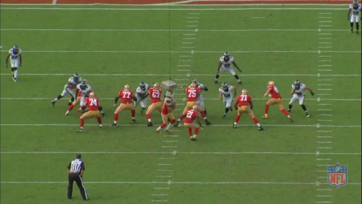 Cedric Thornton (#72) occupies the right guard, while the right tackle is assigned to block Connor Barwin (#98).