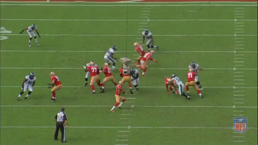 Matthews gets in position to keep the quarterback from fleeing the pocket.