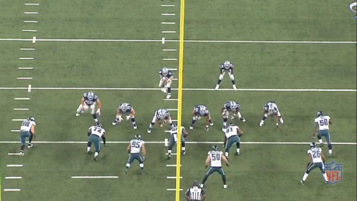 Matthews is across from the left guard.