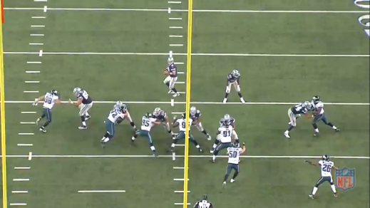 Cox briefly occupies left tackle Tyron Smith and allows Matthews to loop around on a delayed blitz.